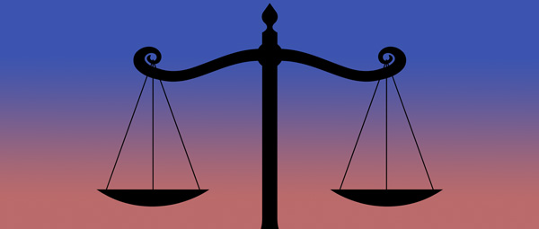 Image of scales representing the scales of justice