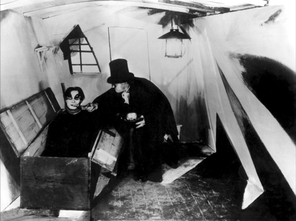 Still from the cabinet of Dr Caligari as an example of its use of distorted designs