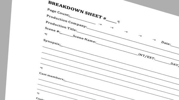 Image of a breakdown sheet