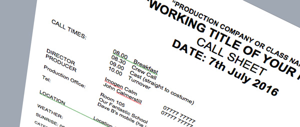 Image of a call sheet