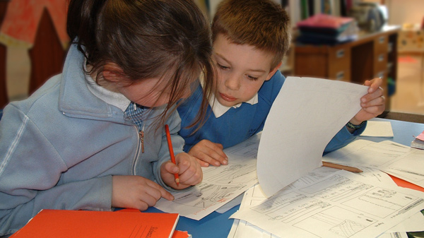 Photo of pupils discussing a script