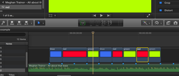 Image of editing software timeline with colours