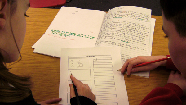 Photo of two pupils working on a storyboard from a script