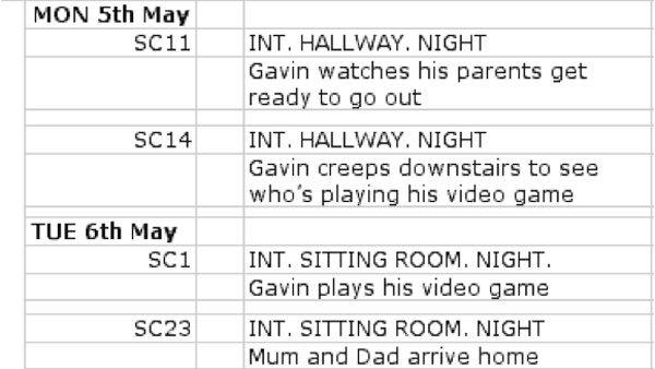 Image of a shooting schedule
