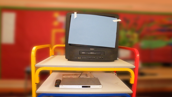 Photo of a TV with the screen covered over
